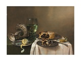 Pronk Still Life, with a Roemer, an Upturned Silver Tazza, a Half-Peeled Lemon on a Pewter Plate,… Giclee Print by Willem Claesz. Heda