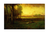Cows Grazing at Sunset Giclee Print by George Snr. Inness