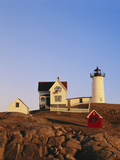 Nubble Lighthouse at Sunset, Cape Neddick, York, Maine, USA Photographic Print by Walter Bibikow