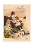 Feeding Ducks, Illustration from 'Where Lilies Live', 1889 Giclee Print by Edith S. Berkeley