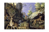 A Woodland Scene with Hunters and Animals Giclee Print by Roelandt Jacobsz. Savery
