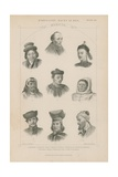 Nine Faces of Different Mongol Races Giclee Print by J.l. Williams
