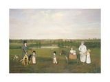 William Hetton Cooke with His Wife and Children at Worleston Rookery, Chester Giclee Print by John E. Ferneley