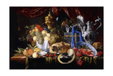 A Pie on a Pewter Plate, a Partly Peeled Lemon, a Silver Spoon on a Pewter Plate, Crayfish and… Giclée-tryk af Jan Davidsz. de Heem