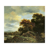 Landscape with Wooded Hillock Giclee Print by Jacob Isaaksz. Or Isaacksz. Van Ruisdael