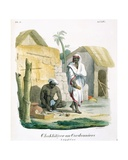 Making Rope Sandals, 1827-35 Giclee Print by M.E. Burnouf