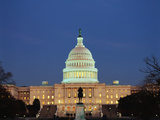 United States Capitol Building at Dusk, Washington DC, USA Photographic Print by Walter Bibikow