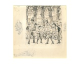 School Boys Fighting Giclee Print by George L. Du Maurier