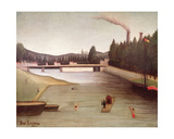 Bathing at Alfortville Giclee Print by Henri Rousseau