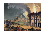 Fire at Albion Mill, Blackfriars Bridge, from Ackermann's 'Microcosm of London' C.1808-11 Giclee Print by T. & Pugin Rowlandson