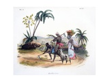 Gardeners Cultivating Vegetables, 1827-35 Giclee Print by M.E. Burnouf
