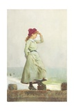 Young Girl on Seawall Giclee Print by Alexander M. Rossi