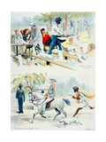 'The Colonel on His Way to Tennis' and 'Outside the Club, Lucknow', from Lloyd's Sketches of… Giclee Print by W. Lloyd