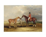 Portrait of John Drummond on a Hunter with a Groom Holding His Second Horse, in a Landscape, a… Giclee Print by John E. Ferneley