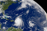 Three Storms From Space Hurrican Irene Plastic Sign Plastic Sign