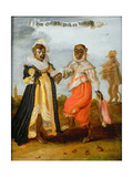Two Dancing Monkeys Dressed as a Wealthy Couple Giclee Print by Adriaen Pietersz. Van De Venne
