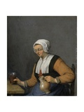 A Woman with a Beer Jug, C.1670s Giclee Print by Adriaen Jansz. Van Ostade