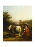 A Gypsy Encampment by a Clearing in a Wooded Landscape Giclee Print by William Snr. Shayer