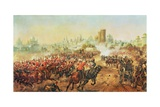 Charge of the Queens Bays Against the Mutineers at Lucknow, 6th March 1858 Giclee Print by Henry A. Payne