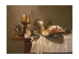 Still Life of a Roemer, an Overturned Silver Tazza, a Flute and a Ham, 1643 Reproduction procédé giclée par Willem Claesz. Heda