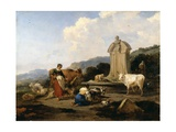 Roman Fountain with Cattle and Figures (Le Midi), C.1645-46 Giclee Print by Nicolaes Pietersz. Berchem