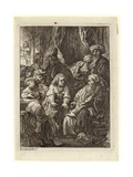 A Crowd of People Gathered around a Seated Old Man Giclee Print by Rembrandt Harmensz. van Rijn