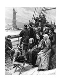 Entering a New World, Jewish Refugees from Russia Passing the Colossal Statue in New York… Giclee Print by Charles J. Staniland