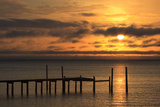 Dock at Sunrise in Apalachicola Bay, Apalachicola, Florida, USA Photographic Print by Joanne Wells