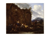 A Farrier and Peasants Near Roman Ruins Giclee Print by Nicolaes Pietersz. Berchem