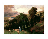 Hillside at Etretat Giclee Print by George Snr. Inness