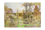 The Sun Dial in the Rose Garden Giclee Print by Thomas H. Hunn