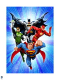 Justice League: Superman with Flash, Green Lantern, Batman with Blue Background Posters