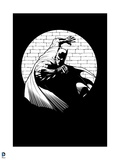 Batman: Black and White Batman Against a Brick Wall One Hand on Wall Other in Front of Him Print