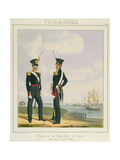 Royal Marine Artillery Officers, Plate 8 from 'Costume of the Royal Navy and Marines', Engraved… Giclee Print by L. And Eschauzier, St. Mansion