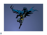 Batman: Batman Jumping Forward with Face in the Shadows and One Arm Extended Forward Prints
