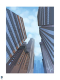 Justice League: View of the Sky with Buildings Art