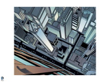 Batman: View from the Side of a Building Looking Down on the Smaller Buildings of Gotham City Art