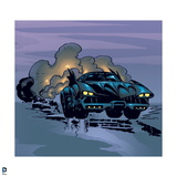 Batman: The Batmobile View from the Front Driving with a Large Cloud of Smoke Behind It Posters