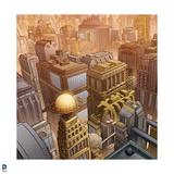 Superman: Birds Eye View of Metropolis (Color) Posters