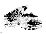 Justice League: Landscape with Mountains and Planets in Background (Black and White) Prints