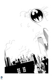 Batman: Black and White Image of Gotham City with Bat Signal Above the Buildings Posters