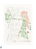 Batman: Poison Ivy Drawn Out in Words Letters and Symbols with Writing in the Background Prints