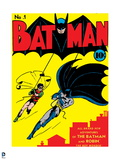 Batman: Cover Batman and Robin Swinging over the City Outlined in Red Prints
