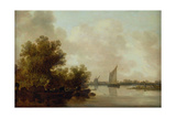 Wooded River Landscape with Fishermen Giclee Print by Jan Josephsz. Van Goyen