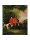 Portrait of Lord Lismore in a Hunting Coat with His Bay Hunter and a Hound, in a Landscape, a… Giclee Print by John E. Ferneley