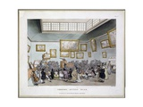 Christie's Auction Room, from 'Microcosm of London' by J. Bluck, Published by R. Ackermann, 1808 Giclee Print by T. & Pugin Rowlandson