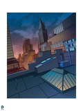 Batman: Rooftop at Night with Sunroof Looking Out onto Towers of Gotham City Poster
