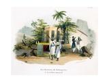 Litter Bearers, 1827-35 Giclee Print by M.E. Burnouf