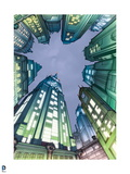 Batman: View of Gotham City from the Ground with Buildings All around in Blue and Green Prints