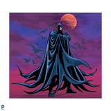 Batman: Batman Standing Cape Wrapped around Him Bats Flying Behind Him and Full Moon in Background Posters